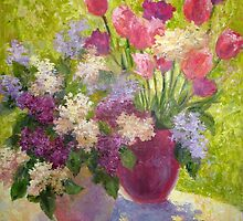 Lilacs and tulips by Julia Lesnichy