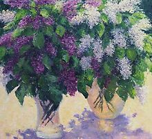 Blooming lilacs by Julia Lesnichy