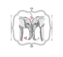 Ink and Watercolor Elephants in Love Photographic Print