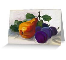 Golden Pear with Plums Greeting Card