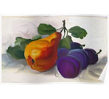 Golden Pear with Plums Poster
