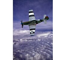 Mustang Fighter Patrols the Skies Above the Clouds Photographic Print