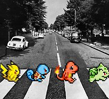 Kanto Starters on Abbey Road (black/white) by jamden37