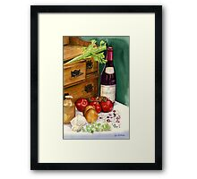 Beans and beaujolais still life Framed Print