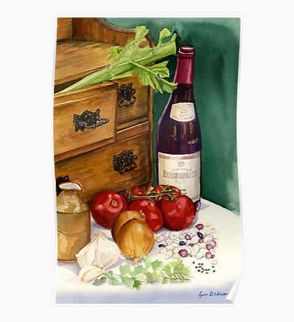 Beans and beaujolais still life Poster