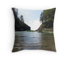 a calm ocean at cape disappointment Throw Pillow