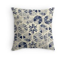 Hand Painted Triangle & Honeycomb Ink Pattern - indigo & cream Throw Pillow