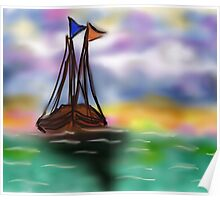 Sailing under painted Sky Poster