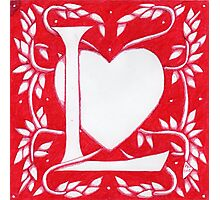 Red Heart Letter L Photographic Print