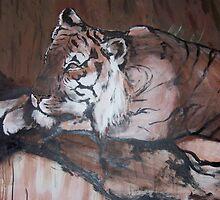 Relaxing Tiger by Caroline Johnston