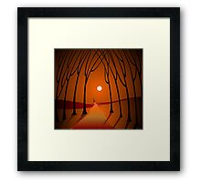 Digital painting of sunset scenery Framed Print