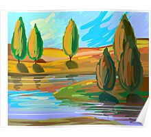 Digital painting of trees along the river side Poster