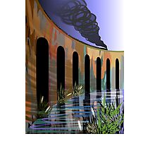 Digital painting of a long tall bridge Photographic Print