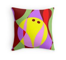 Digital painting of ten pin bowling Throw Pillow