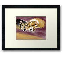 Two Dogs Illustration 02 Framed Print