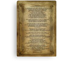 "Desiderata ""desired things"" on parchment Canvas Print"