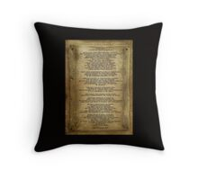 "Desiderata ""desired things"" on parchment Throw Pillow"