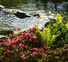 Wild Rhododendrons and Ferns by the Silver River by Georgia Mizuleva