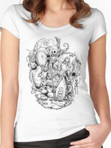 A nightmare in black and white Women's Fitted Scoop T-Shirt