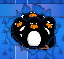 Penguin Supprise Christmas Card by Moonlake