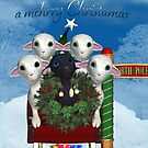 Little Lamp Christmas Card - Lambs In Sleigh by Moonlake