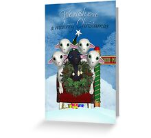 Little Lamp Christmas Card - Lambs In Sleigh Greeting Card