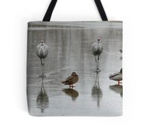 Sandhill Cranes On Ice, With Some Mallards Tote Bag
