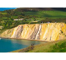 Coloured sand cliffs of Alum Bay Isle of Wight Photographic Print