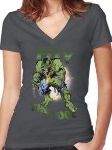 FOOL SMASHER! Women's Fitted V-Neck T-Shirt
