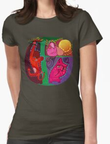 doodle animals hanging out Womens Fitted T-Shirt