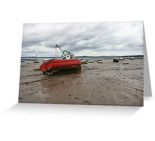 Boat stuck in mud  Greeting Card