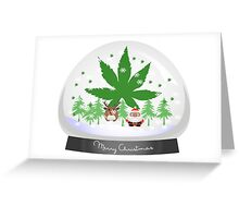 Merry Christmas Marijuana Snow Globe Greeting Card