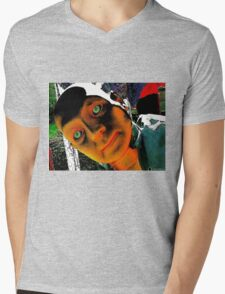 Hugo, Man of a Thousand Faces Hits the Acid Mens V-Neck T-Shirt