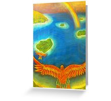 Winged Bird Angel flying over islands Greeting Card