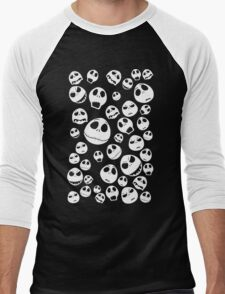 Halloween Ghost emoticon face pattern Men's Baseball ¾ T-Shirt