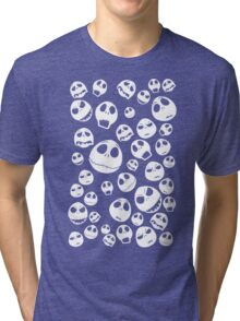 Halloween Ghost emoticon face pattern Tri-blend T-Shirt