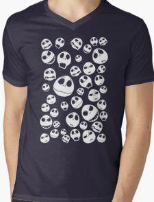 Halloween Ghost emoticon face pattern Mens V-Neck T-Shirt