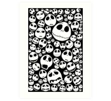 Halloween Ghost emoticon face pattern Art Print