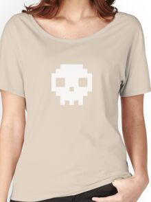 Pixel Skull T Shirt Women's Relaxed Fit T-Shirt
