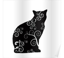Black Cat Silhouette with Swirl Design Poster