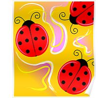 Digital painting of three ladybirds Poster