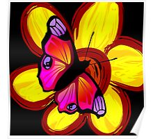 butterfly sitting on a flower Poster