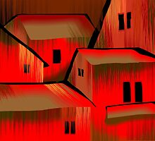Digital painting of colourful building by tillydesign