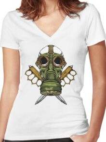 Gas Mask and Trench Knife  Women's Fitted V-Neck T-Shirt