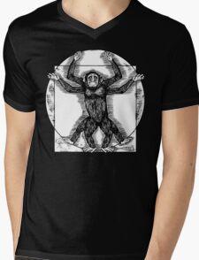 Vitruvian Chimp Mens V-Neck T-Shirt