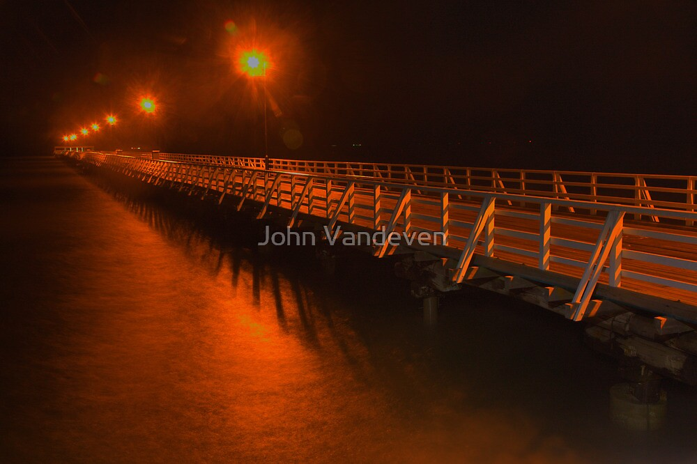 Shorncliffe Pier at Night by John Vandeven