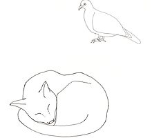 Creeping Pigeon, Sleeping Cat by thelittleforest