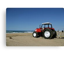 Tractor on the Beach Canvas Print