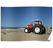 Tractor on the Beach Poster