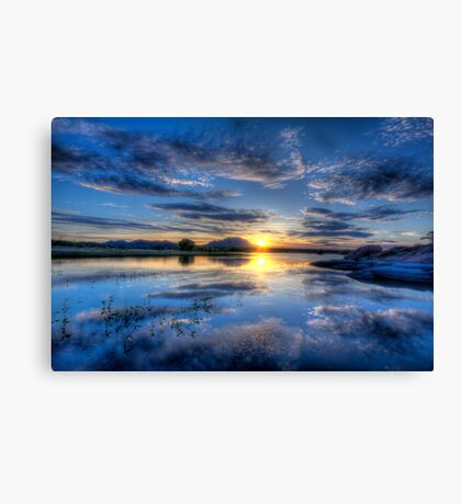 Willow lake Blue Canvas Print